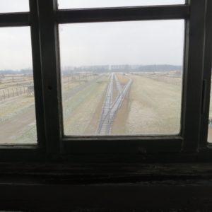 Auschwitz Birkenau Bild vom Wachturm auf Rampe